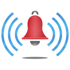 paper cut of red alarm bell with blue signal is alert symbol ico