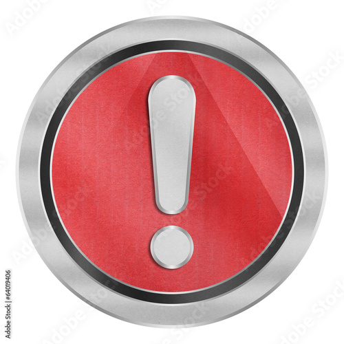 paper cut of exclamation mark is alert symbol icon on red circle