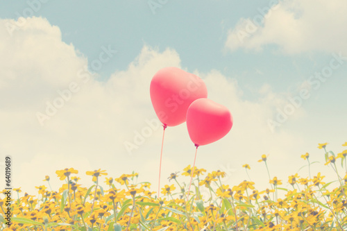 Heart Balloons Background With Flower For Valentines Concept