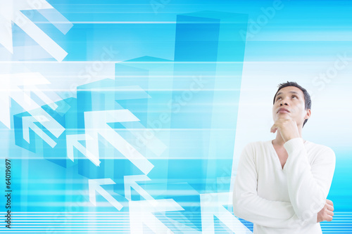 Man Looking Up With Financial Background Concept