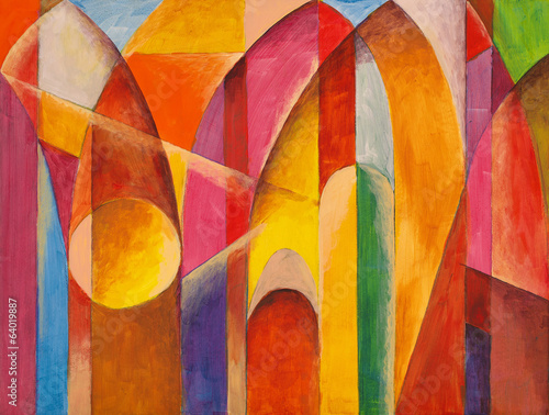 an abstract painting, suggestive of architecture