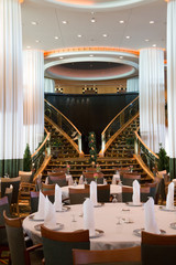 Formal Dining Tables on a Luxury Cruise Ship