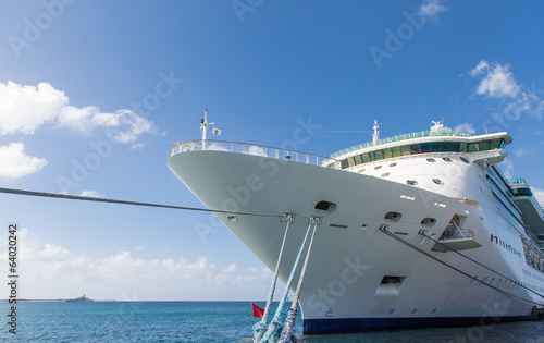 Bow of Cruise Ship with Ropes to Pier