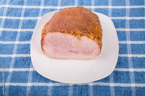 Ham on White Plate with Honey Crust