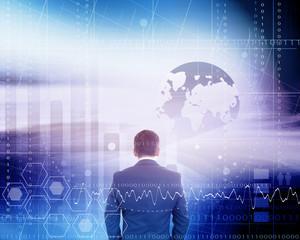 Businessman In Virtual World Reality