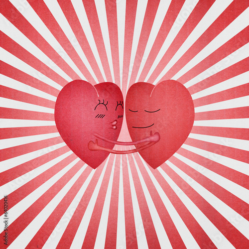 paper cut of red hearts is hug with sweet love in valentine day