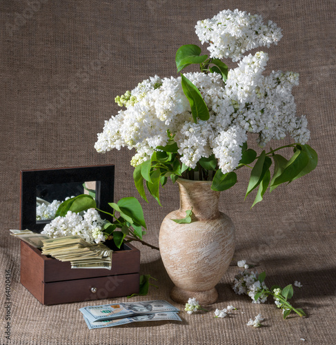 Blooming branches of lilac in vase and dollars in chest