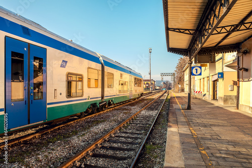 Train on empty station in Alba, Italy.