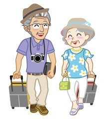 Senior couple traveller, Isolated