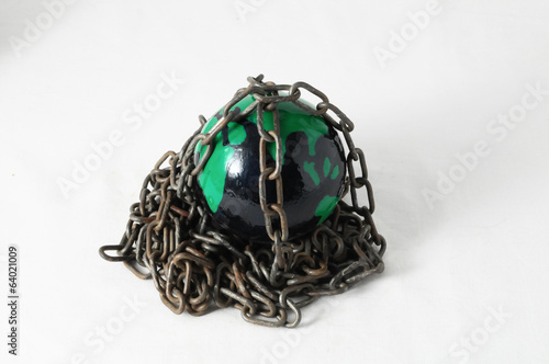 earth globe close in chain. 3d...