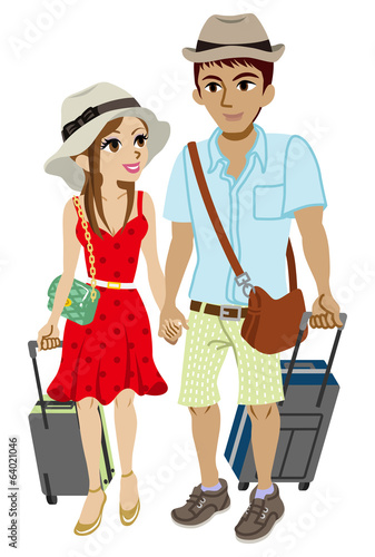 Young couple traveller, Isolated