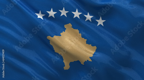 Flag of Kosovo waving in the wind - seamless loop