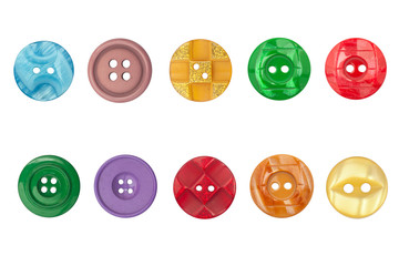 Sewing Buttons Collection, Isolated on White Background