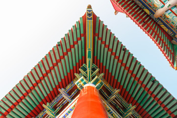 Traditional Roof Chinese style at Wat Leng-Noei-Yi, Thailand