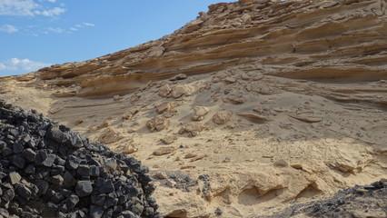 Fuerteventura. Rocas De Lava y Pared De Arena Fósil