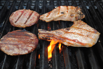 Beef and Pork on a Flaming Grill