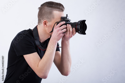 Photographer on isolated background