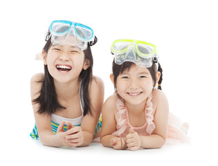 happy little girls with swimsuit isolated on white