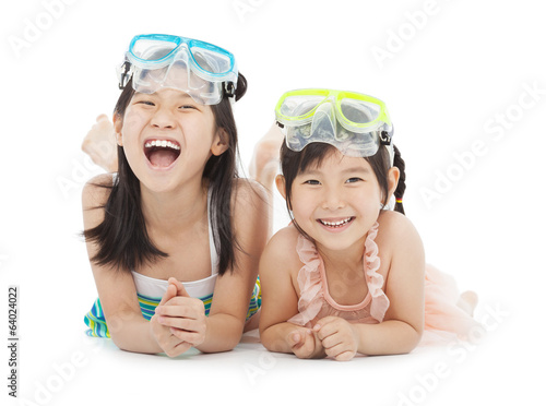 happy little girls with swimsuit