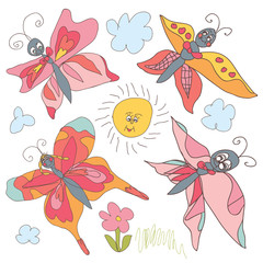 Butterfly Doodle set.Children's hand drawing