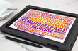 tablet with web design word cloud