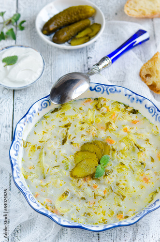 Soup with pickled cucumbers