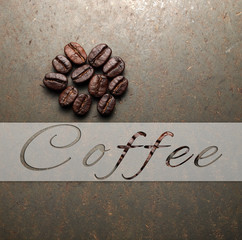 Roasted Coffee beans on texture concrete board, vintage retro ba