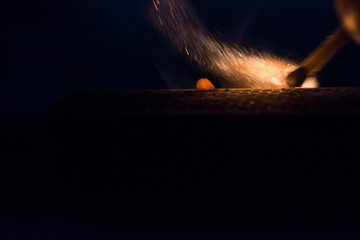 burning match, macro photography