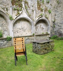 chairs in religious ruin