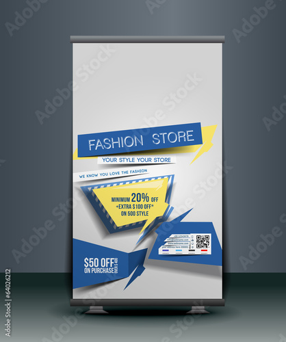Fashion Store Roll Up Banner Design.