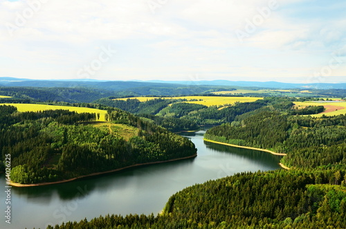 View from wind farms to dam Horka in Czech republic