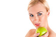 Beautiful healthy woman with apple.Healthy eating concept