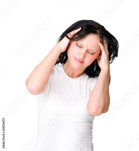 A young woman with a headache holding head, isolated on white