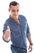 Glücklicher junger Mann isoliert mit Daumen hoch