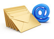 Email symbol and stack of envelopes