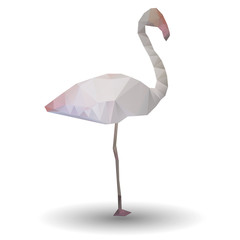 Illustration of abstract flamingo in origami style