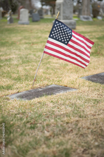 Headstone with Flag