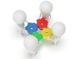 3d color gears and people on white