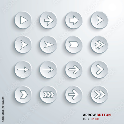 button arrow sign icon set. on click
