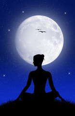 yoga pose in the moonlight