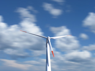 Wind Turbine with moving clouds on background