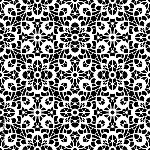 Tuinposter Kunstmatig Black and white lace texture, seamless pattern