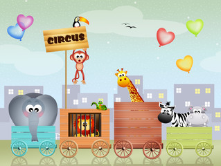 illustration of animals circus
