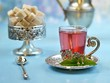 canvas print picture - Moroccan tea with sugar and mint