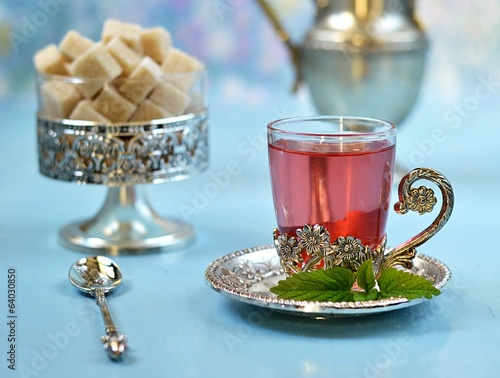 Moroccan tea with sugar and mint