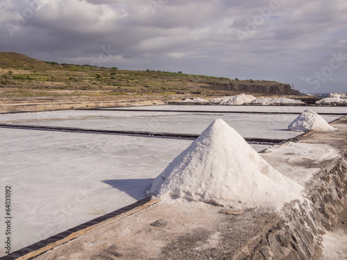 Salt evaporation pond and pile of salt