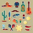 Collection of mexican stickers in native style.