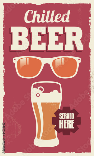 Vintage retro beer sign - vector poster design