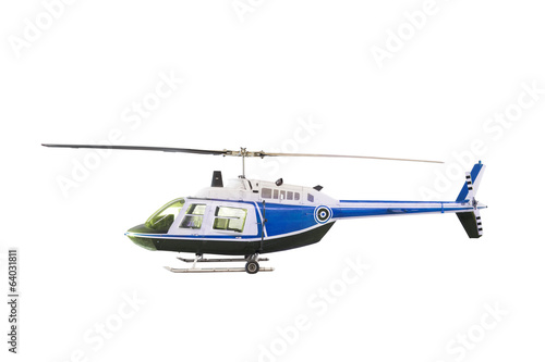 Tuinposter Helicopter blue and white helicopter isolated white background