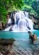Waterfall at Kanchanaburi Province, Thailand - 64032035